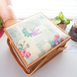 Large Wooden Sewing Organizer Box with Handles